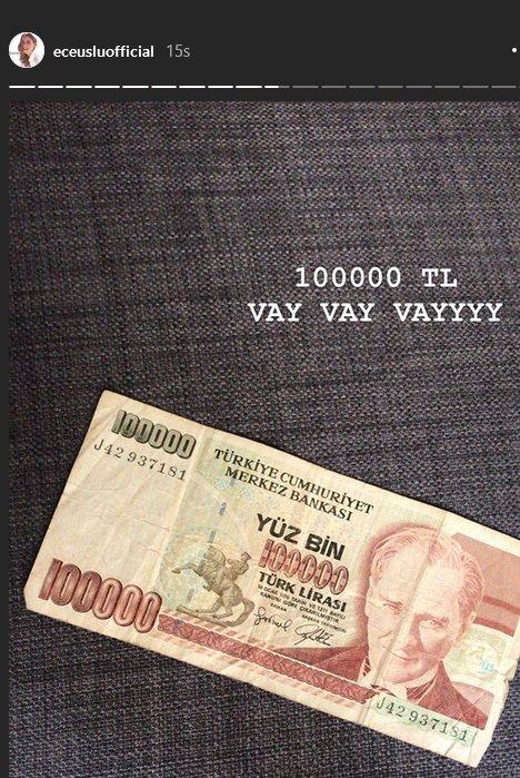 Ece Uslu, 600 bin lirasını böyle görüntüledi