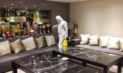 Ayhan Şahenk Spor Salonu'nda koronavirüs temizliği