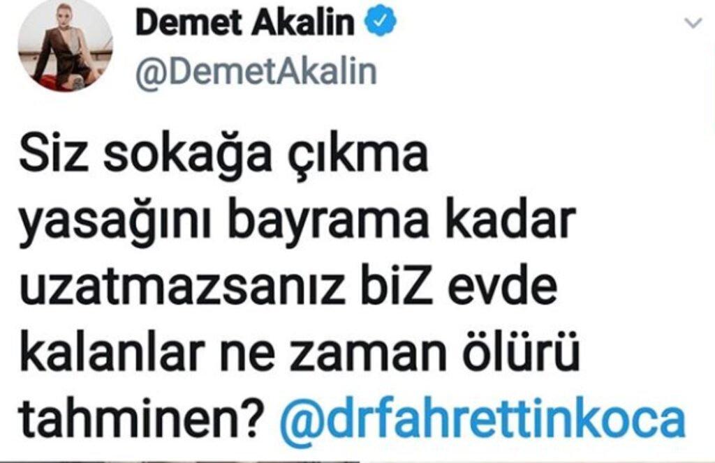 Demet Akalın'dan Sağlık Bakanı Fahrettin Koca'ya tepki