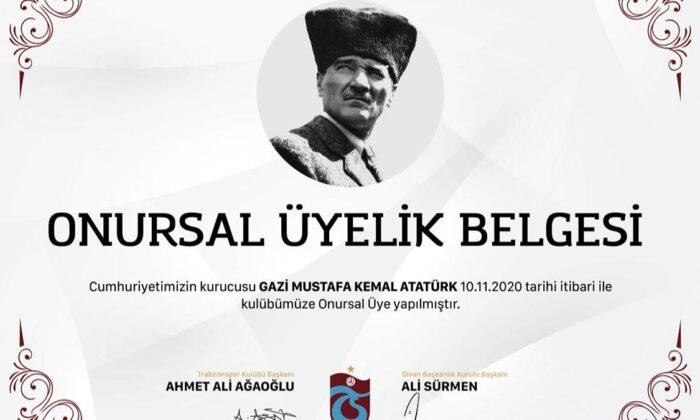 """Trabzonspor'dan Atatürk için """"onursal üyelik"""" hamlesi"""