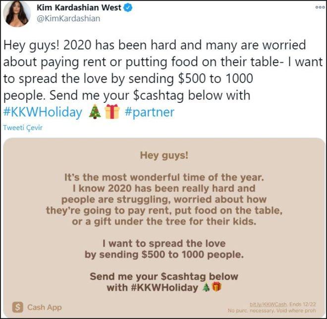 Kim Kardashian bin kişiye para verecek
