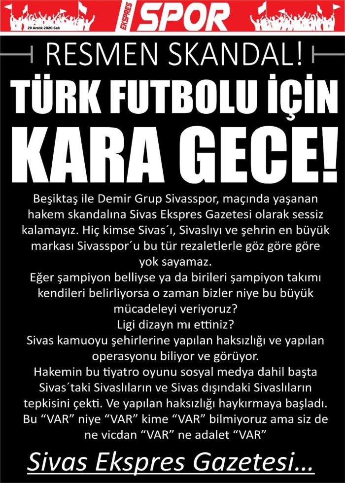 Beşiktaş - Sivasspor maçının hakemine ''siyah sayfalı'' tepki