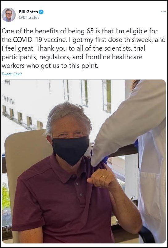 Bill Gates corona aşısı oldu