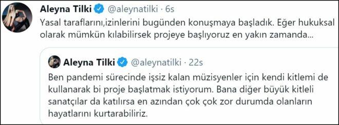 Aleyna Tilki'den meslektaşlarına anlamlı çağrı