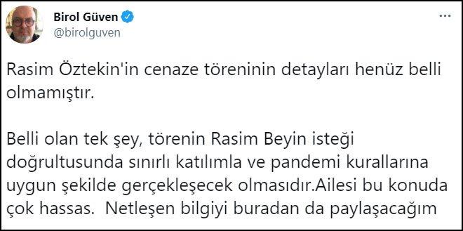 Rasim Öztekin'in cenaze töreni hakkında açıklama